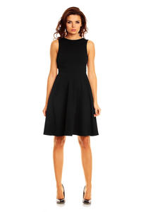 Black Cut Out Back Dress with Button Stud