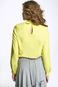 Lime Round Collar Long Sleeves Blouse