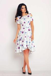 Purple Flowers Pattern Asymetrical Cut Out Shoulders Dress