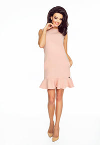 Pink Classic Sleeveless Frilled Dress