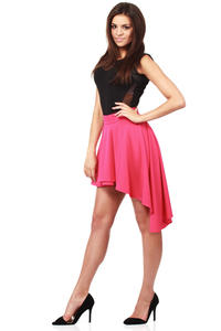 Pink Flamenco Salsa Dancing Pleated Skirt