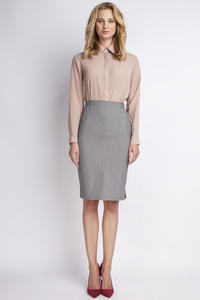 Grey High Waist Knee Length Elegant Skirt