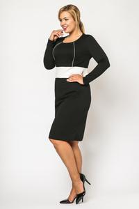 Black Long Sleeves Contrasting Waist Dress PLUS SIZE