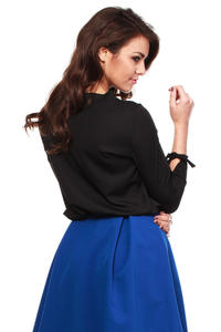 Black Cut Out Bow tie Blouse with Long Sleeves