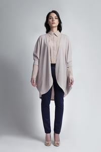 Beige Bat Sleeves Loose Casual Cardigan
