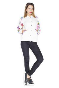Ecru Short Bomber Jacket with Floral Sleeves