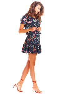 Navy Airy Patterned Dress with Tie