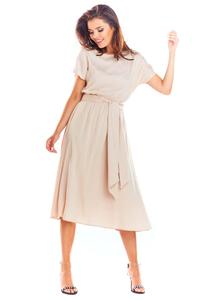Beige Flared Midi Dress with Short Kimono Sleeve