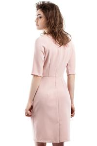 Pink Soft Office Style Knee Length Dress
