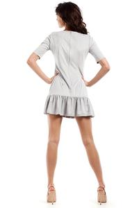 Grey Suede Imitation Dress with Frill