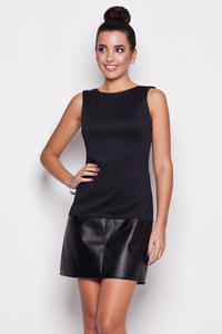 Black Leather Hemline Sleeveless Shift Dress