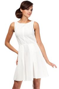 Ecru Sleeveless Pleated Round Neckline Dress