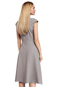Classic Flared Gray Dress With a Frill