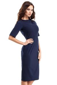 Dark Blue Simple Pencil Style 1/2 Sleeves Dress