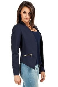 Dark Blue Unique Collar Women Blazer Jacket