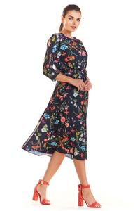 Navy Blue Classic Flared Dress with a Colorful Pattern