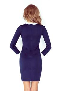 Dark Blue Bodycon Dress with White Cuffs&Collar