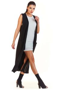 Black Long Knitted Vest with Pockets