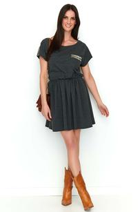 Graphite Boho Style Short Dress with Decorative Insets