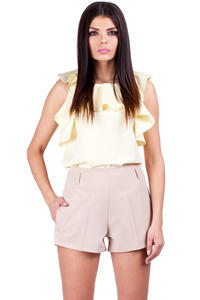 Beige Shorts with Loops and Hip Pockets