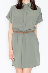 Green Shirt Dress with Rolled-up Sleeves