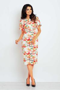 Orange Pattern Short Sleeves Midi Dress