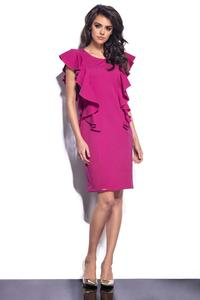 Dark Pink Frilled Midi Dress