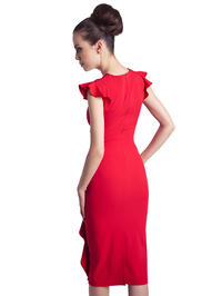 Red Structured Petal Sleeves Midi Dress
