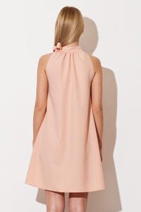Light Pink Pleated Neckline Shirt Dress with Bow Tie