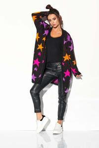 Black Cardigan without Fastening with Colorful Stars