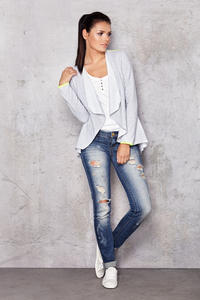 Waterfall Neckline Grey Jacket with Straight Back Hem