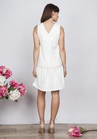 Ecru Summer Style Dress with a Frill
