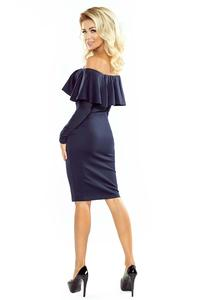 Dark Blue Midi Bodycon Dress with Spain Style Neckline