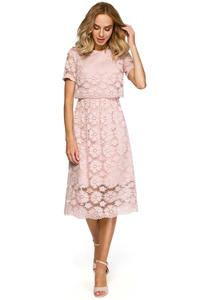 Pink Lace Dress Midi Length
