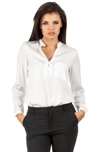 White Medici Collar Silky Feel Shirt