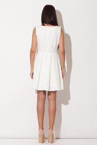 Ecru Bateau Neck Pleated Skirt Dress with Back Zip Fastening