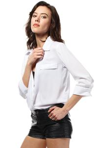 White Stylish 3/4 Sleeves Shirt