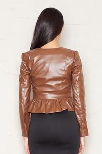 Crop Leather Brown Jacket with Snap Button Closure