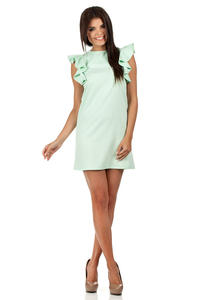 Mint High Neck Shift Dress with Waterfall Shoulders