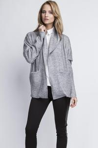Grey Elegant Oversized Office Style Cardigan