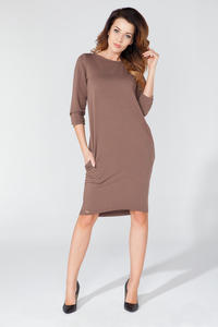 Brown Classic Plain 3/4 Sleeves Knee Length Casual Dress