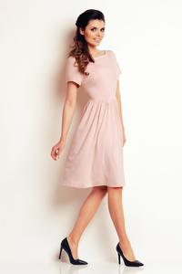 Light Pink Short Sleeves Knee Length Dress