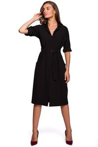 Black Belted Dress with Pockets
