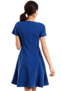 Blue Flared Short Sleeves Dress with Front Pockets