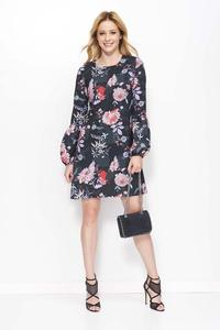 Black Floral Pattern Flared Dress