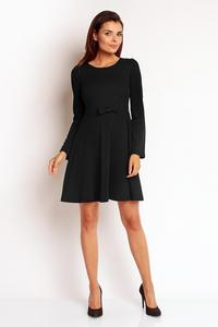 Black Flared Belted Dress with Bow