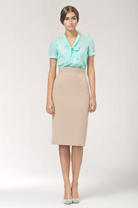Celadon Bow Neckline Pleated Back Chiffon Blouse