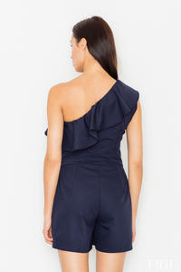 Dark Blue Asymetrical Frilled Summer Jumpsuit