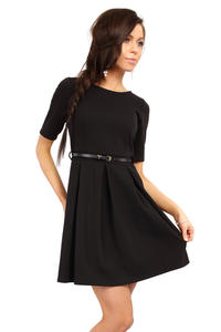 Black Magnanimous Modern Belted Tea-length Dress