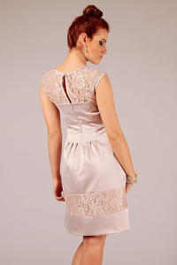 Beige Sleeveless Coctail Dress with Lace Details